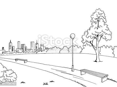 banc de parc dessin paysage noir et blanc esquisse illustration vectorielle lampe cliparts. Black Bedroom Furniture Sets. Home Design Ideas
