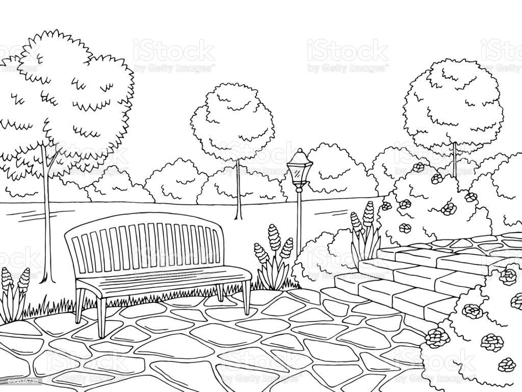 banc de parc dessin paysage noir et blanc esquisse