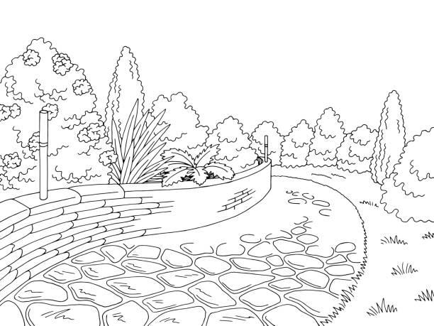 grafik schwarz weißen garten parklandschaft skizze abbildung vektor - steinpfade stock-grafiken, -clipart, -cartoons und -symbole