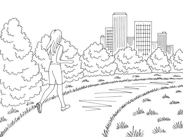 ilustrações de stock, clip art, desenhos animados e ícones de park graphic black white landscape sketch illustration vector. girl running - young woman running city