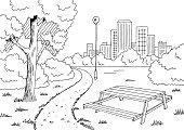 Park graphic black white table landscape sketch illustration vector