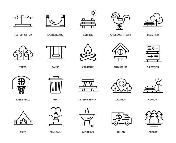ilustrações, clipart, desenhos animados e ícones de conjunto de ícones do parque - exterior