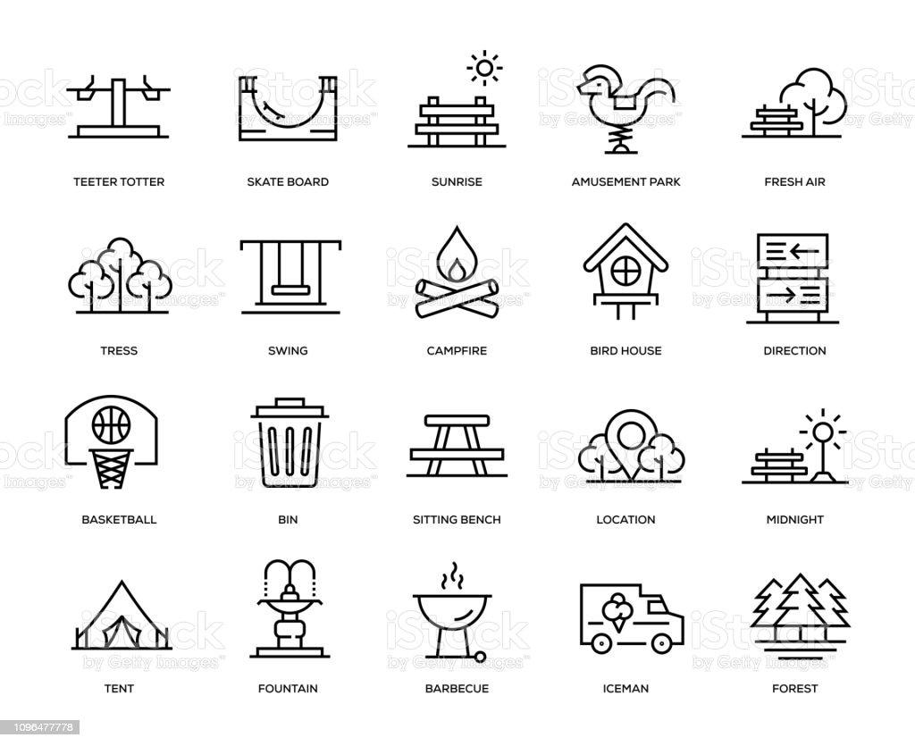 Park-Icon-Set – Vektorgrafik