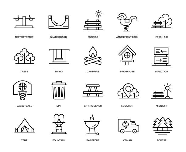 stockillustraties, clipart, cartoons en iconen met park icon set - buitenopname