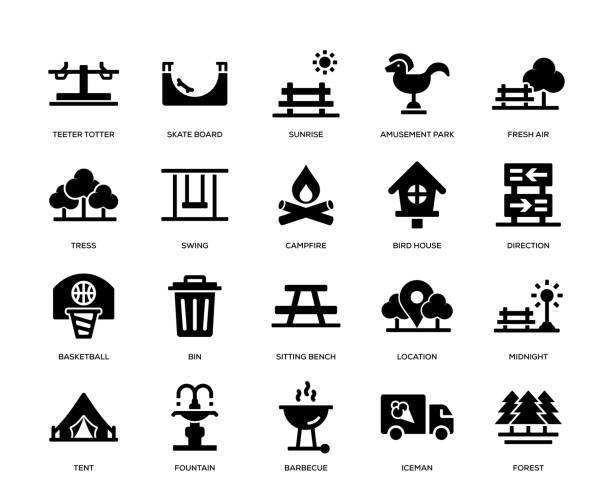 bildbanksillustrationer, clip art samt tecknat material och ikoner med park ikon uppsättning - naturparksområde