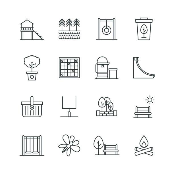 bildbanksillustrationer, clip art samt tecknat material och ikoner med park ikonuppsättning - bench