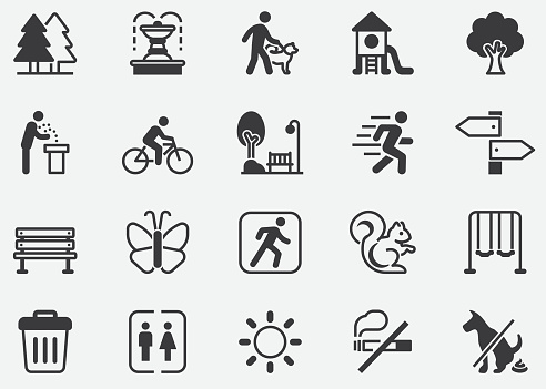 Park icons set.Tree. healthy.Botanical garden, carousel, ferris wheel, museum, excursion, pond, street food, fountain vector illustrations.outdoors Pixel Perfect Icons