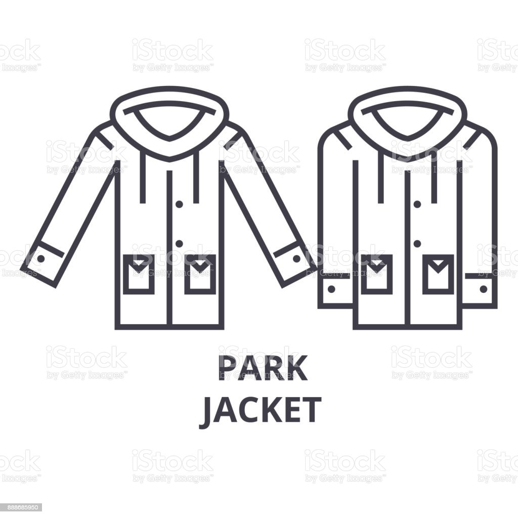 park jacket line icon, outline sign, linear symbol, vector, flat illustration vector art illustration