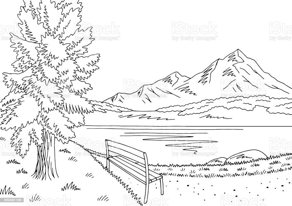 park grafik schwarz weißen seenlandschaft skizze abbildung