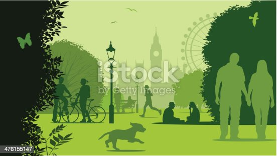 Park scene with London skyline. Freehand, CS3 and CS5 in the zip file.