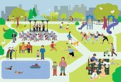 Vectored people in a city park. Based on 1970s AIGA icon designed for the US Department of Transport. This format can be blown up to any size without loss of quality.