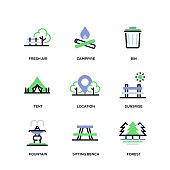 Park Line Icon Set