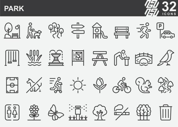 park line icons - outdoor stock-grafiken, -clipart, -cartoons und -symbole