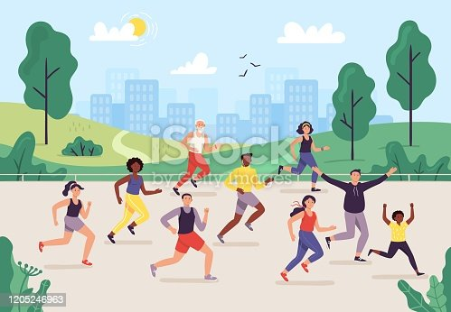 istock Park marathon. People running outdoor, joggers group and sport lifestyle. Jogging vector illustration 1205246963
