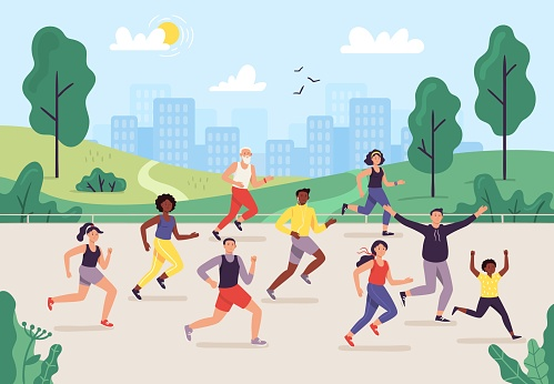 Park marathon. People running outdoor, joggers group and sport lifestyle. Jogging vector illustration