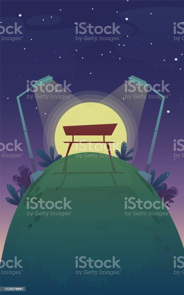 park natt bänk, romantisk datum solnedgång promenad, gräs kulle stjärnor på himlen bakgrund. vektorlandskapsbildration - Royaltyfri Blå vektorgrafik