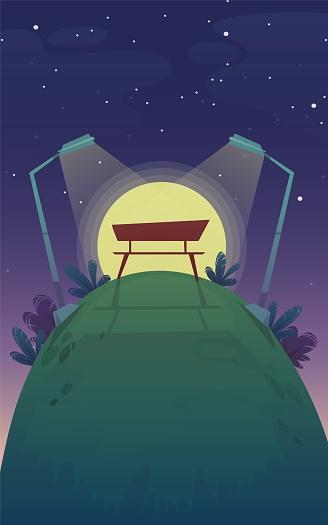 Park Natt Bänk Romantisk Datum Solnedgång Promenad Gräs Kulle Stjärnor På Himlen Bakgrund Vektorlandskapsbildration-vektorgrafik och fler bilder på Blå