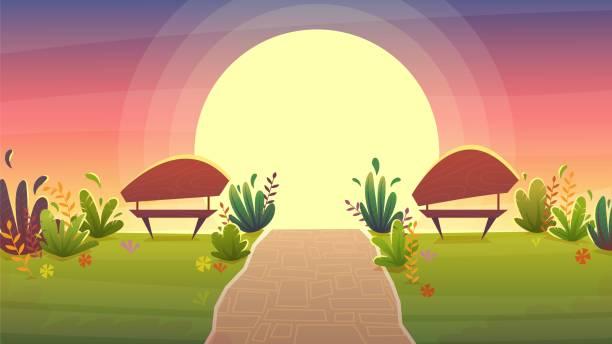 bildbanksillustrationer, clip art samt tecknat material och ikoner med park natt bänk, romantisk datum solnedgång promenad, gräs kulle stjärnor på himlen bakgrund. vektorlandskapsbildration - walking home sunset street