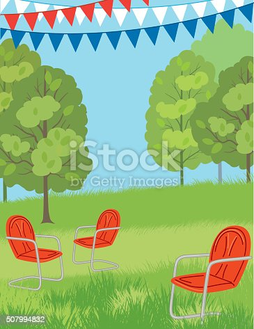 Park or Lawn with retro Chairs and Bunting Flags. Summer background