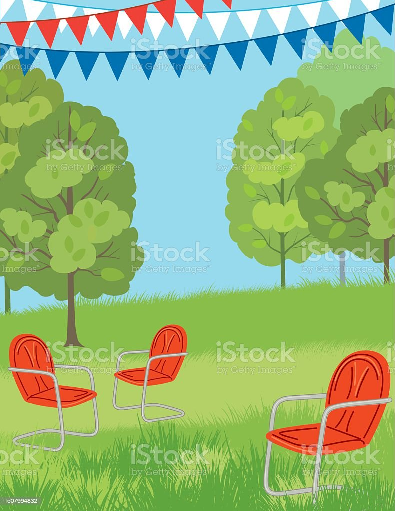 Park or Lawn with retro Chairs and Bunting Flags vector art illustration