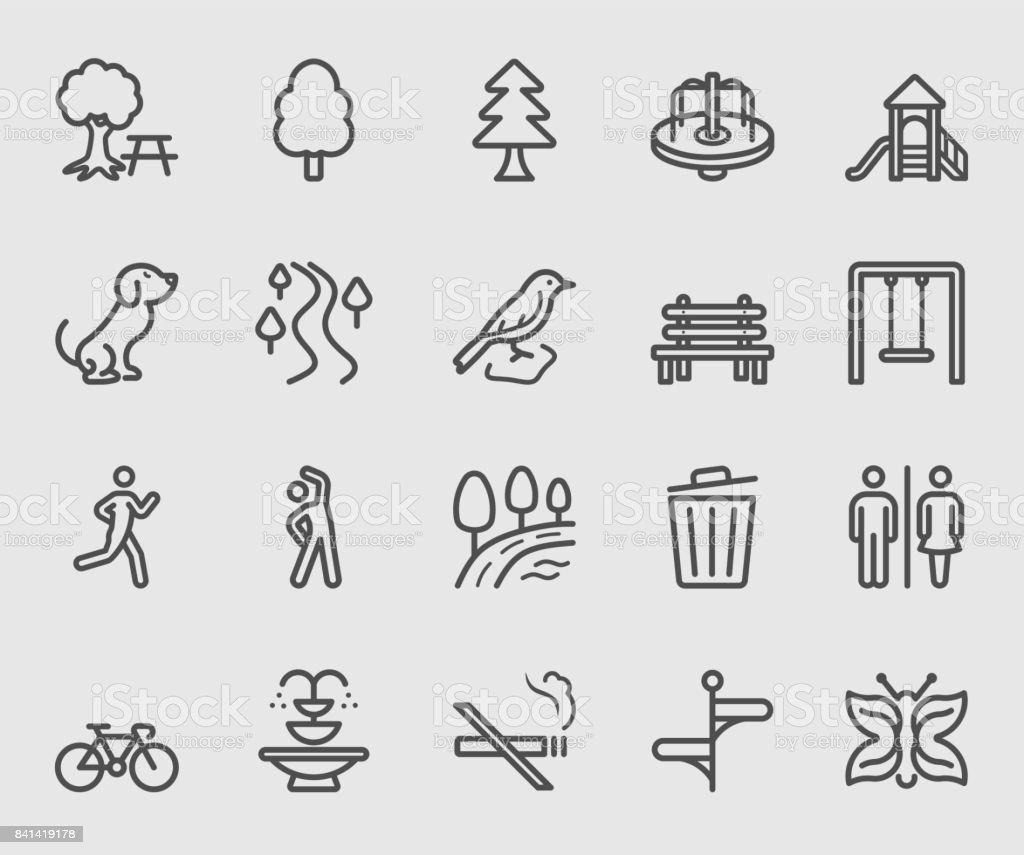 Icône de ligne extérieure parc icône de ligne extérieure parc vecteurs libres de droits et plus d'images vectorielles de activité de loisirs libre de droits