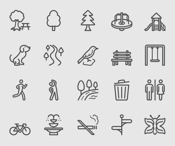 ilustrações, clipart, desenhos animados e ícones de ícone de linha ao ar livre do parque - exterior