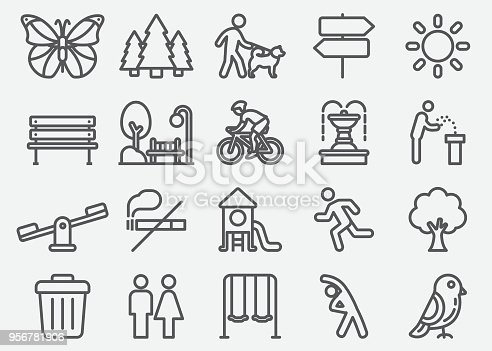 Park Outdoor Line Icons