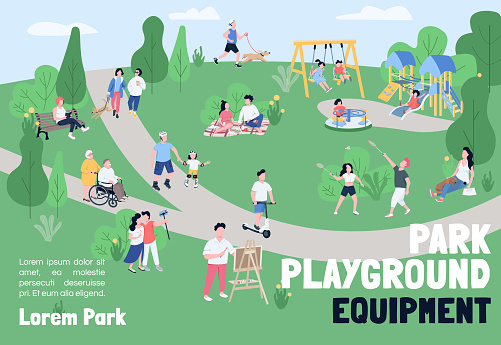 Park playground equipment banner flat vector template. Brochure, poster concept design with cartoon characters. Outdoor recreation, weekend picnic horizontal flyer, leaflet with place for text