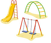 Park Playground Equipment set for Children Playing Stations