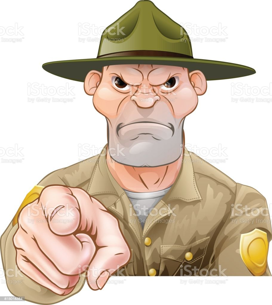 Park Ranger Pointing vector art illustration