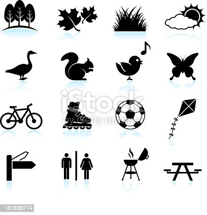 Park, Recreation and Wildlife black & white icon set