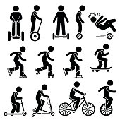 Vector set of park riding vehicles and equipment that includes electric scooter, self-balancing 2 wheels, inline skating, roller skates, ice skating, skateboards, scooter, breaststroke scooter, bicycle, and unicycle.