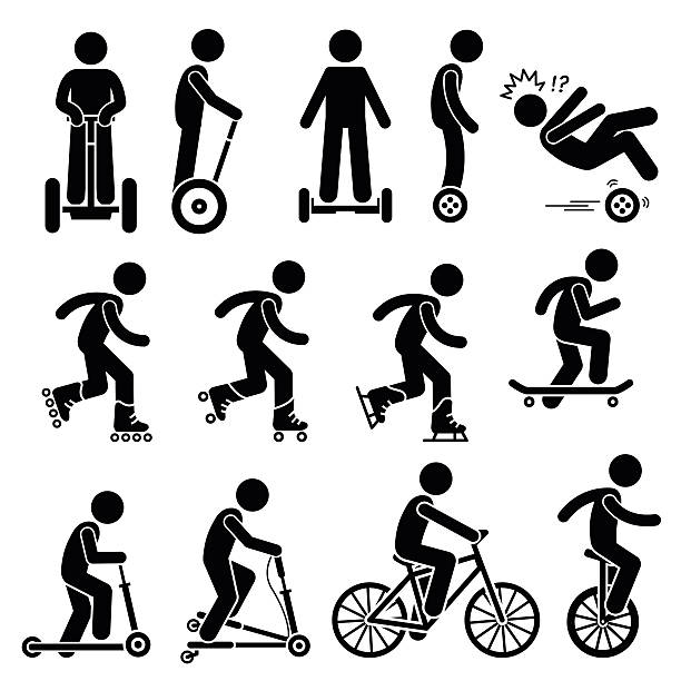 Park Ride Vehicles Illustrations Vector set of park riding vehicles and equipment that includes electric scooter, self-balancing 2 wheels, inline skating, roller skates, ice skating, skateboards, scooter, breaststroke scooter, bicycle, and unicycle. skate stock illustrations