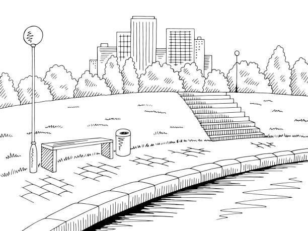 park grafik schwarz weißen flusslandschaft skizze abbildung vektor - steinpfade stock-grafiken, -clipart, -cartoons und -symbole