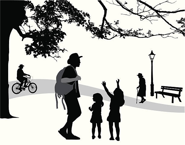 park scene vector silhouette - old man on bike stock illustrations, clip art, cartoons, & icons
