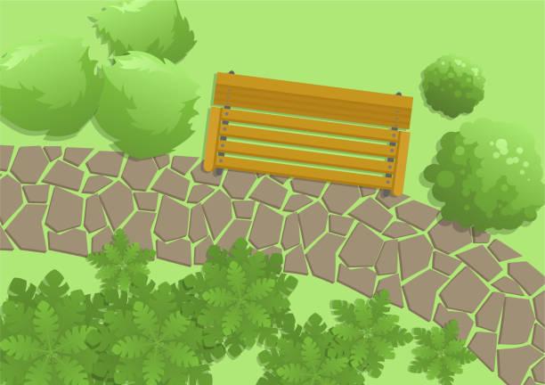park-szene mit sitzbank, bäume und imposantem, ansicht von oben. outdoor-außen, ansicht von oben. flache vektor-illustration. horizontale - steinpfade stock-grafiken, -clipart, -cartoons und -symbole