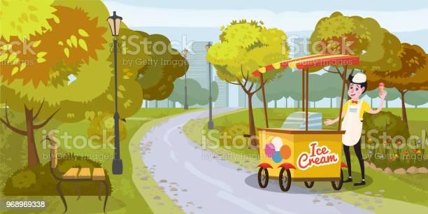 Park seller and cart with ice cream seller trees bench background vector id968969338?b=1&k=6&m=968969338&s=612x612&h=dlt9hij2opplf6nswwcgzjrp9oil3nrreqrfimi2pra=