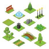 Park Set Isometric View Design Element for Garden Landscape. Vector illustration