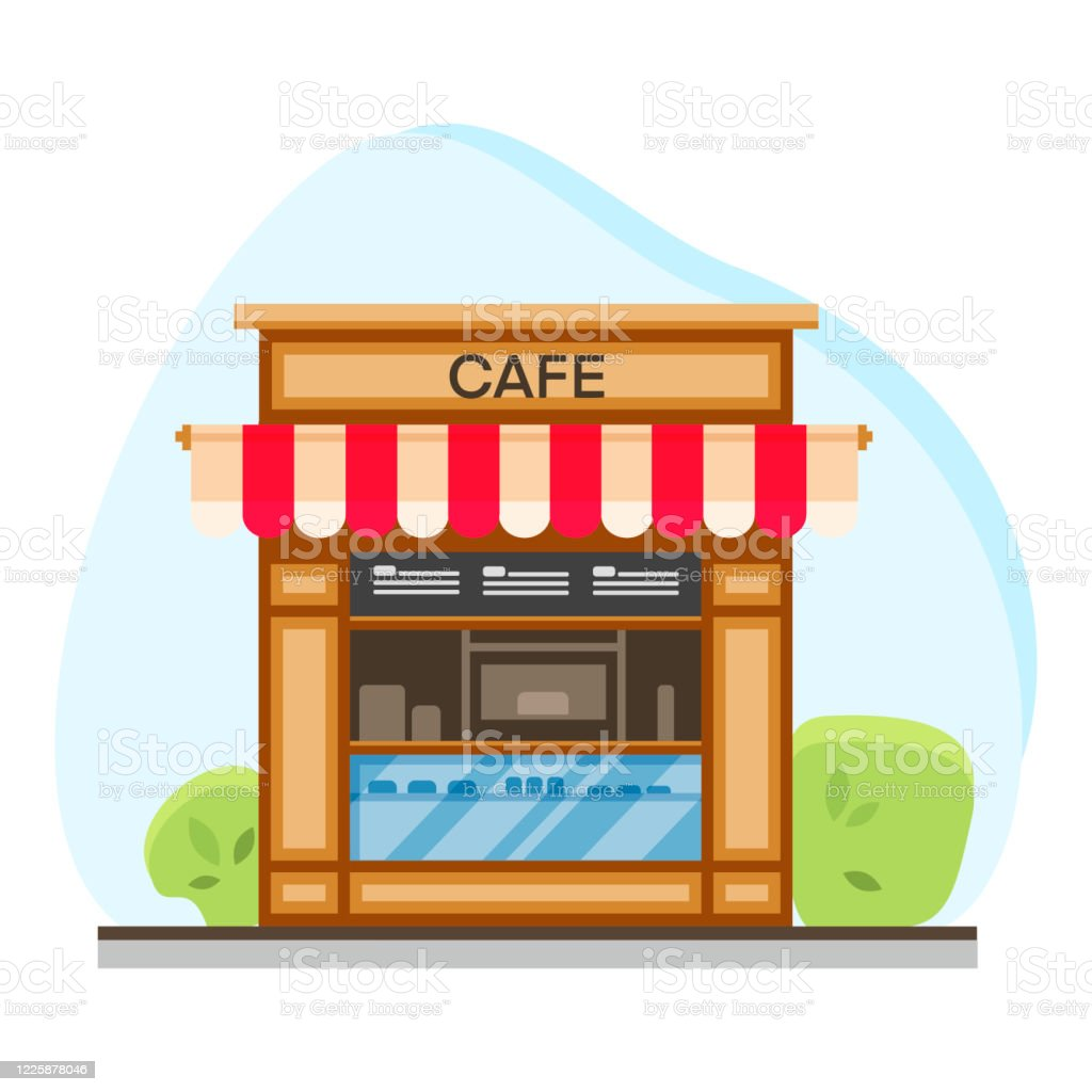 Park Street Cafe With Bushes Urban Spring Summer Landscape Coffe In Outdoor Cafe Shop Exterior Stock Illustration Download Image Now Istock