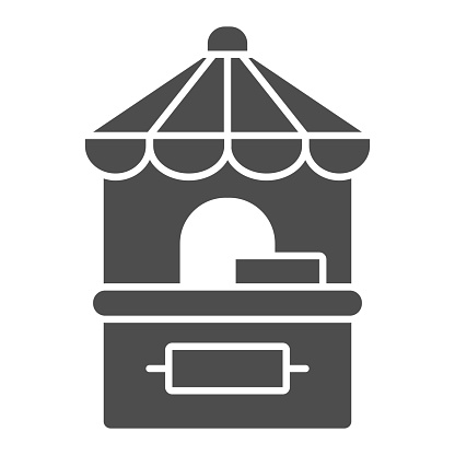 Park ticket office solid icon, Amusement park concept, cashbox sign on white background, Ticket booth icon in glyph style for mobile concept and web design. Vector graphics.