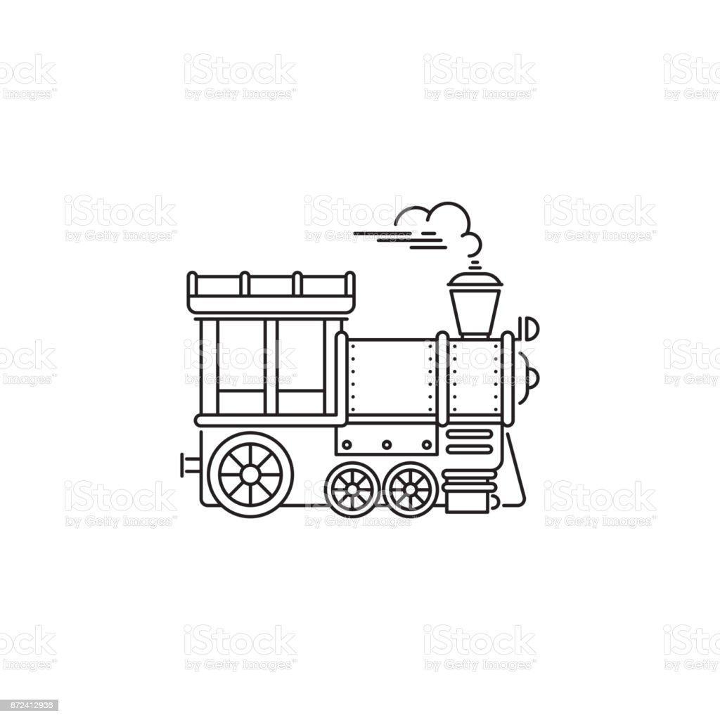 Zug Dampflok Symbol Vektor linear Parkgestaltung isoliert auf weißem Hintergrund. Element für Vergnügungspark, Symbol Linienobjekt Park Logo Vorlage – Vektorgrafik