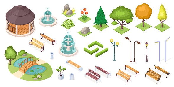 Park trees and landscape elements set, vector isolated isometric icons. Park and garden landscaping constructor, isometric trees, ponds and benches, fountain, plants and flowers, grass and hedges