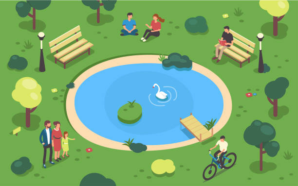 park Public park concept banner with characters. Can use for web banner, infographics, hero images. Flat isometric vector illustration. pond stock illustrations