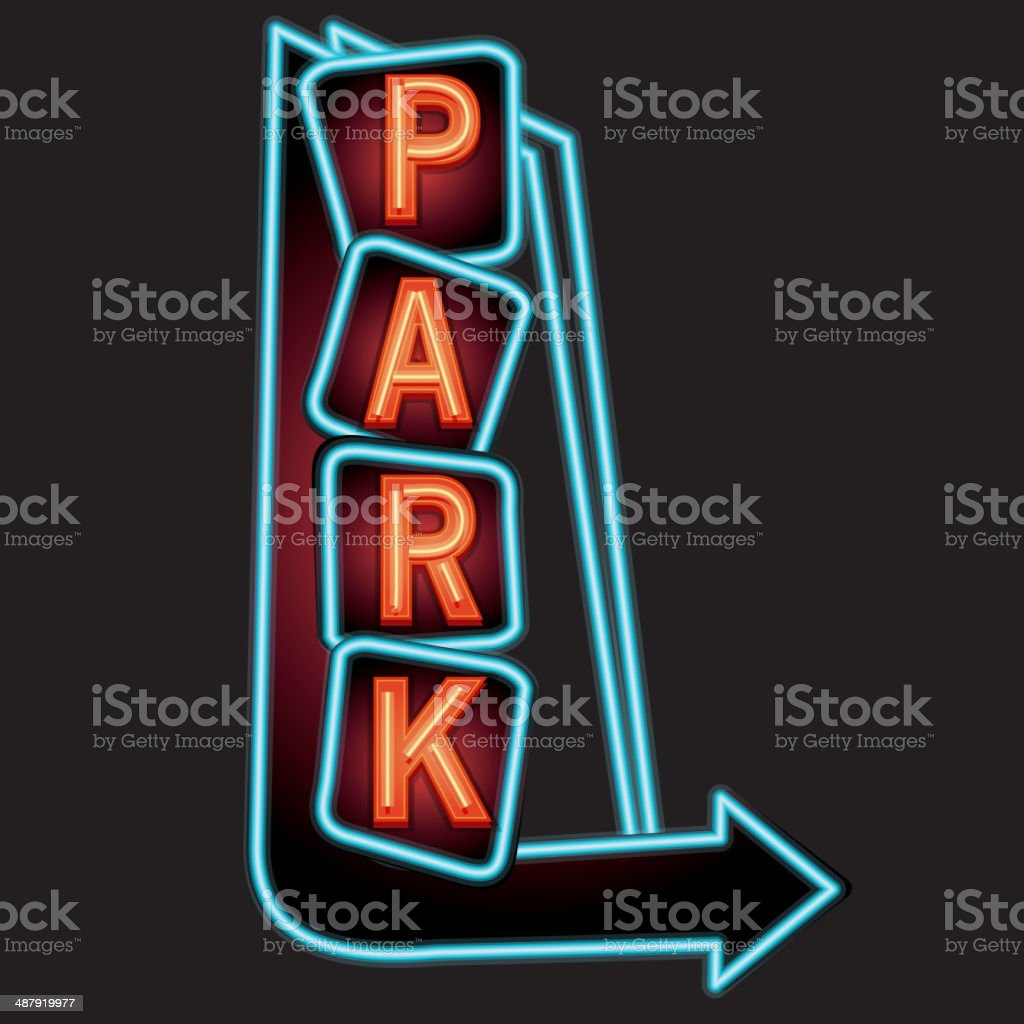 Park vertical neon sign with arrows royalty-free stock vector art