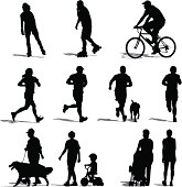 Vector illustration of park vistors exercising.