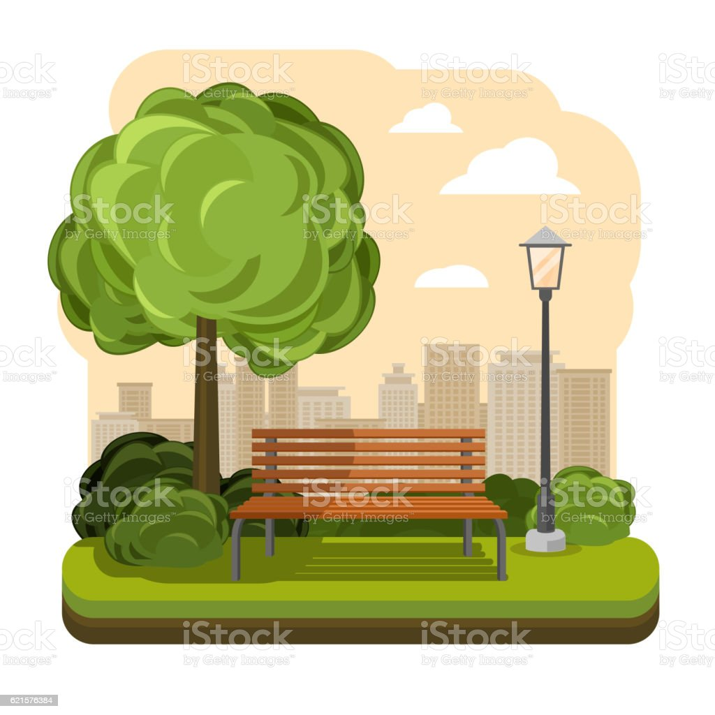 Park with bench. Streetlight and tree vector illustration park with bench streetlight and tree vector illustration – cliparts vectoriels et plus d'images de appartement libre de droits