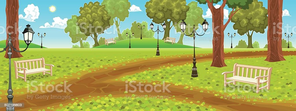 Park with benches and street lamps. vector art illustration