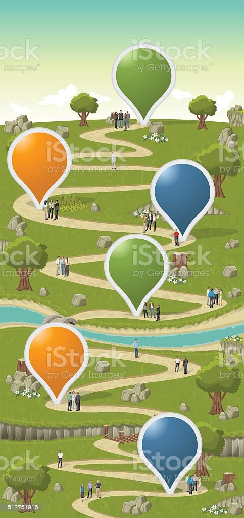 park with business people vector art illustration
