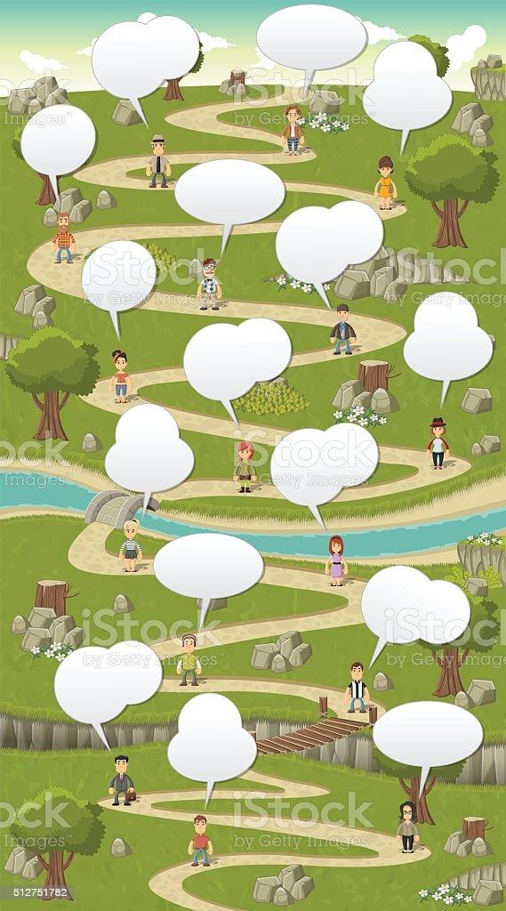park with cartoon people talking vector art illustration
