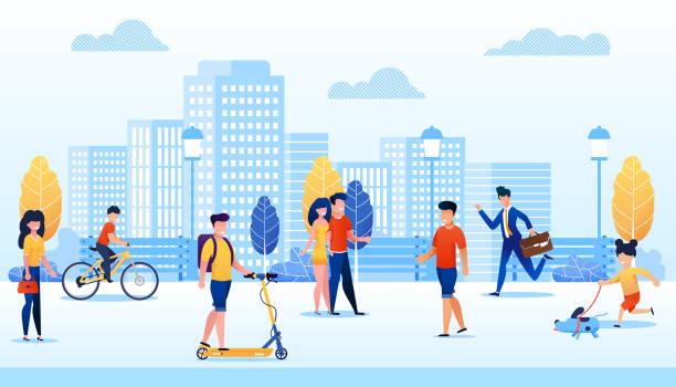 ilustrações, clipart, desenhos animados e ícones de parque com pessoas diferentes fazer várias atividades. - city